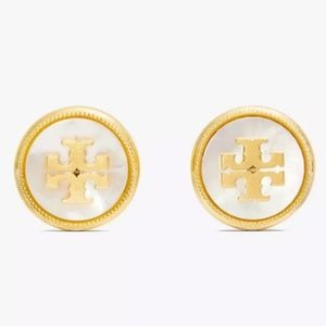 Tory Burch Gold & White Logo M. O. Pearl Earrings